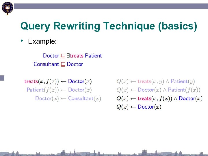 Query Rewriting Technique (basics) • Example: