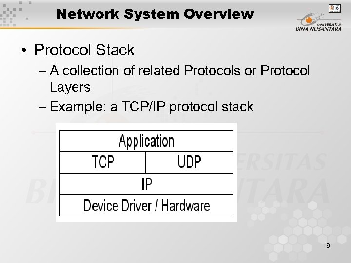 Network System Overview • Protocol Stack – A collection of related Protocols or Protocol