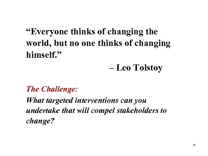 """""""Everyone thinks of changing the world, but no one thinks of changing """"Quote"""" (optional)"""