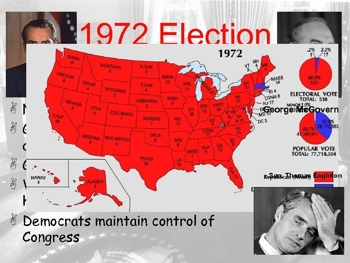 1972 Election George Mc. Govern Nixon ran on success of detante George Mc. Govern