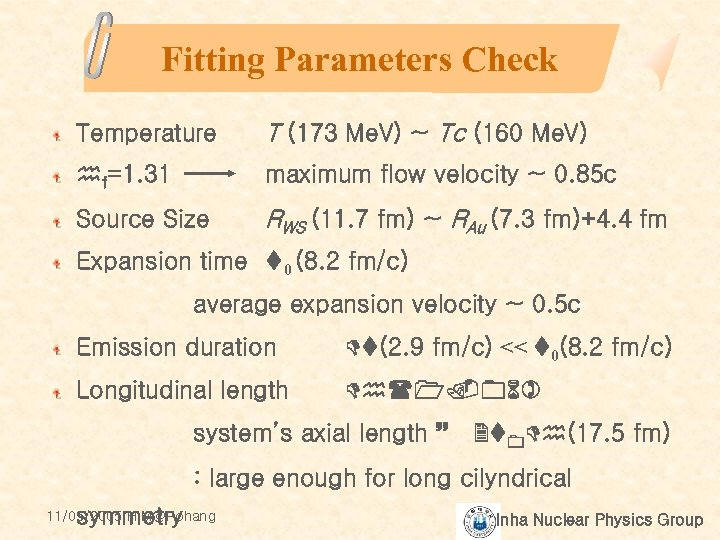 Fitting Parameters Check Temperature T (173 Me. V) ~ Tc (160 Me. V) hf=1.