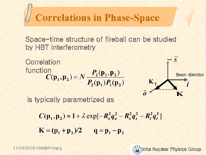 Correlations in Phase-Space-time structure of fireball can be studied by HBT interferometry Correlation function