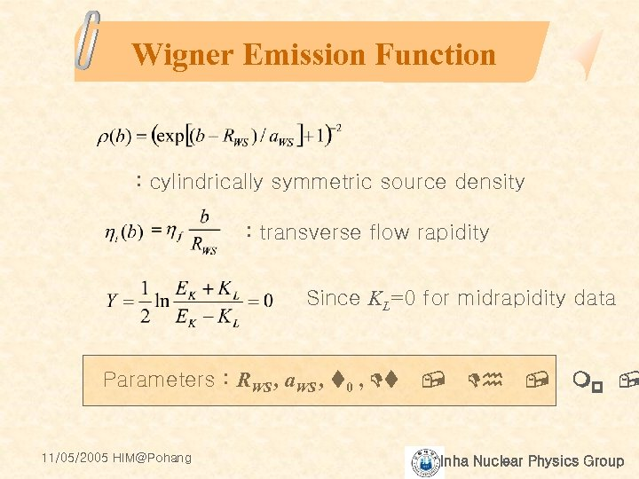 Wigner Emission Function : cylindrically symmetric source density : transverse flow rapidity Since KL=0