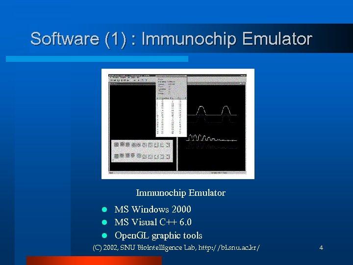 Software (1) : Immunochip Emulator MS Windows 2000 l MS Visual C++ 6. 0