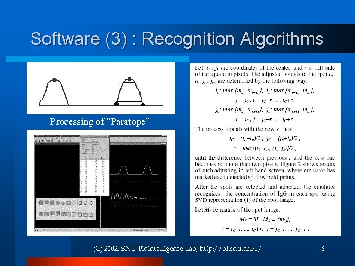 "Software (3) : Recognition Algorithms Processing of ""Paratope"" (C) 2002, SNU Biointelligence Lab, http:"