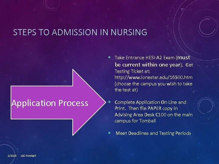 STEPS TO ADMISSION IN NURSING Take Entrance HESI-A 2 Exam (must be current within