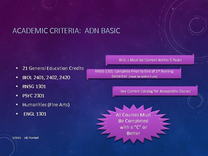 ACADEMIC CRITERIA: ADN BASIC BIOL s Must be Current Within 5 Years • 21