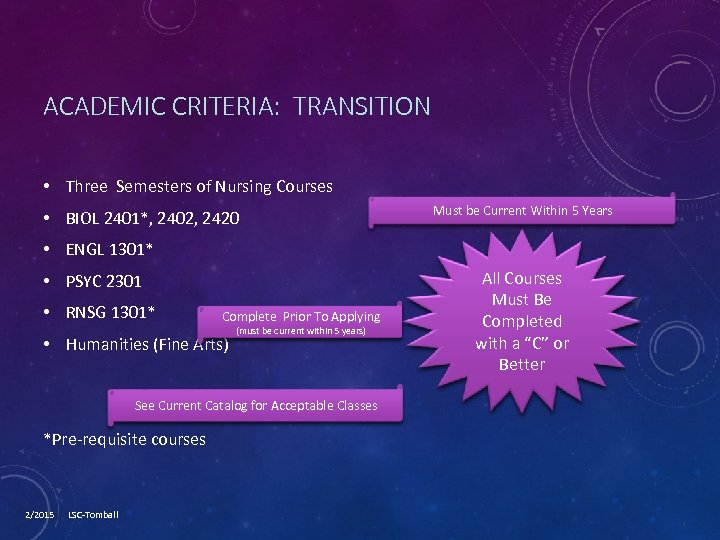 ACADEMIC CRITERIA: TRANSITION • Three Semesters of Nursing Courses • BIOL 2401*, 2402, 2420