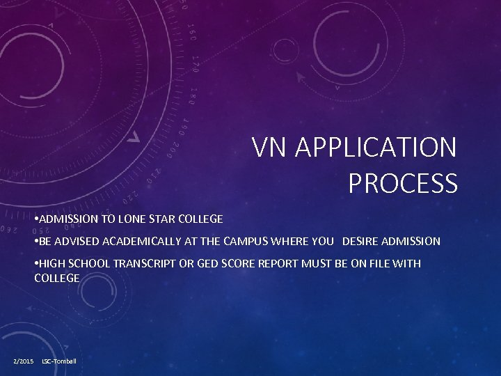 VN APPLICATION PROCESS • ADMISSION TO LONE STAR COLLEGE • BE ADVISED ACADEMICALLY AT