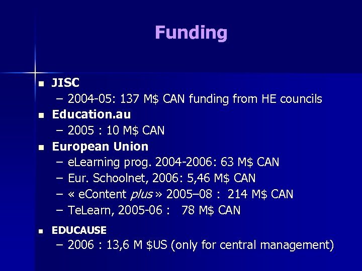 Funding n JISC – 2004 -05: 137 M$ CAN funding from HE councils Education.
