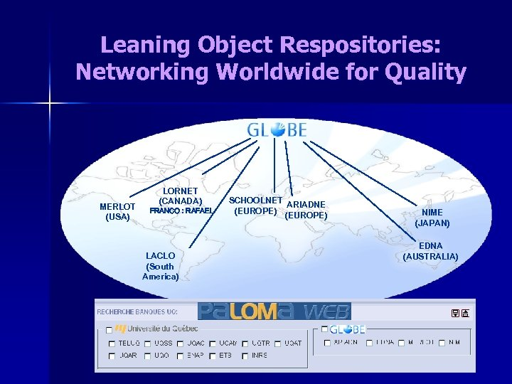 Leaning Object Respositories: Networking Worldwide for Quality MERLOT (USA) LORNET (CANADA) FRANCO : RAFAEL