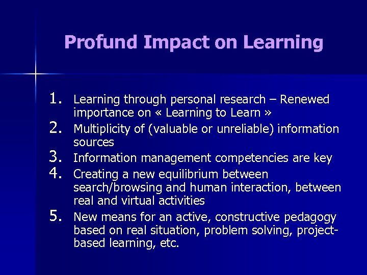 Profund Impact on Learning 1. 2. 3. 4. 5. Learning through personal research –