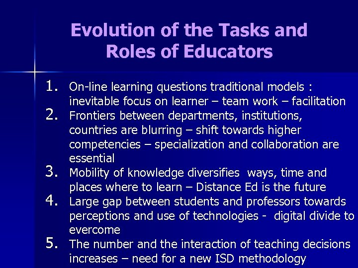 Evolution of the Tasks and Roles of Educators 1. 2. 3. 4. 5. On-line