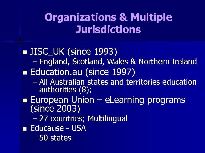 Organizations & Multiple Jurisdictions n JISC_UK (since 1993) – England, Scotland, Wales & Northern