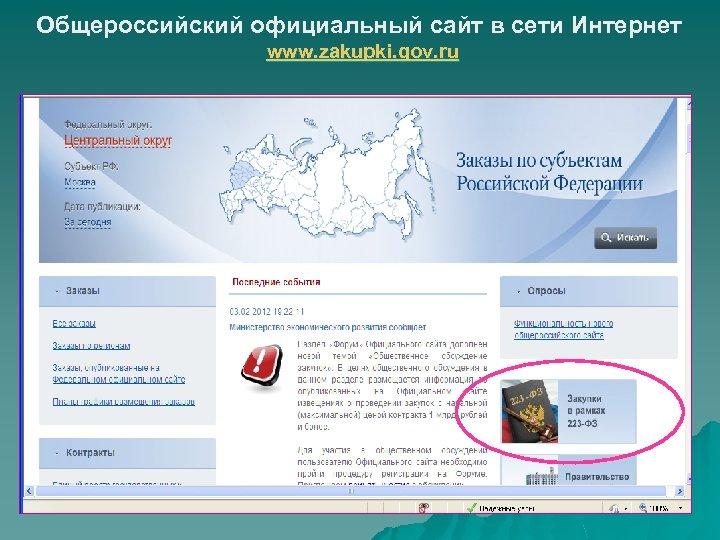 Общероссийский официальный сайт в сети Интернет www. zakupki. gov. ru