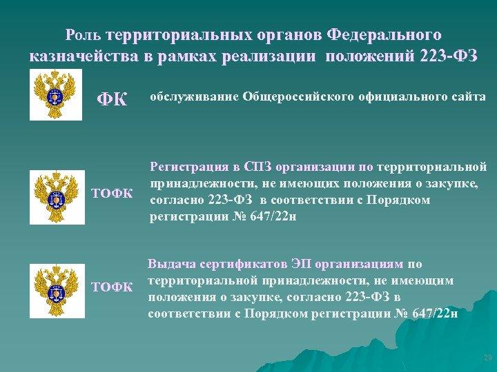 Роль территориальных органов Федерального казначейства в рамках реализации положений 223 -ФЗ ФК обслуживание Общероссийского