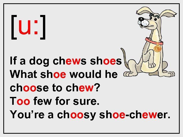 [u: ] If a dog chews shoes What shoe would he choose to chew?