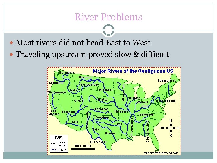 River Problems Most rivers did not head East to West Traveling upstream proved slow