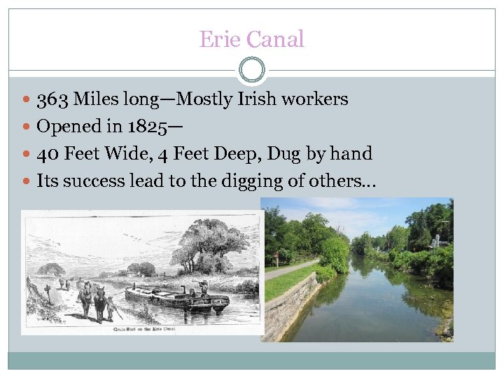Erie Canal 363 Miles long—Mostly Irish workers Opened in 1825— 40 Feet Wide, 4