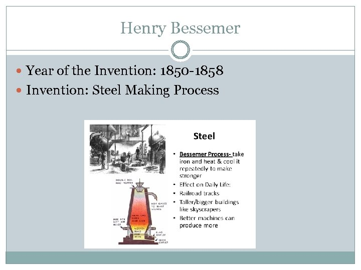 Henry Bessemer Year of the Invention: 1850 -1858 Invention: Steel Making Process