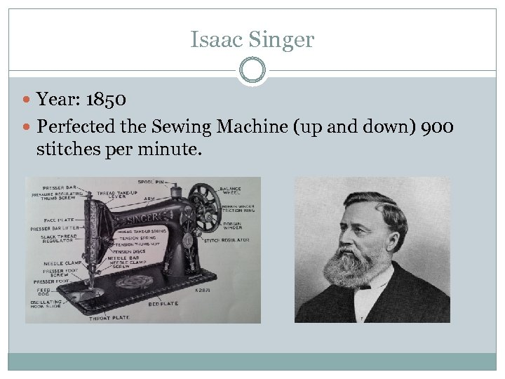 Isaac Singer Year: 1850 Perfected the Sewing Machine (up and down) 900 stitches per