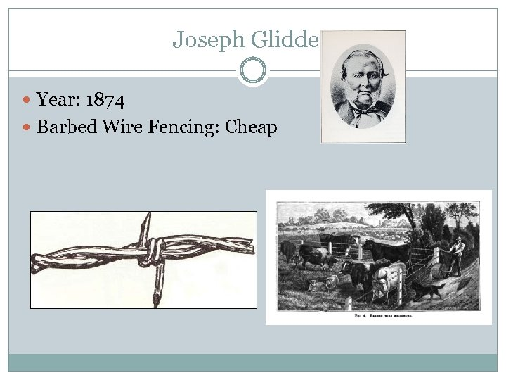 Joseph Glidden Year: 1874 Barbed Wire Fencing: Cheap