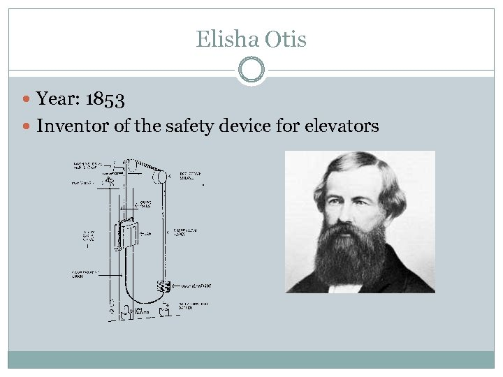 Elisha Otis Year: 1853 Inventor of the safety device for elevators