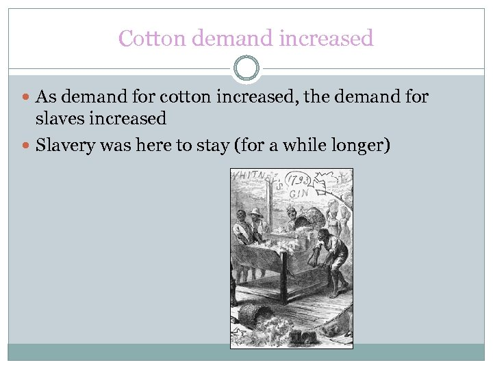Cotton demand increased As demand for cotton increased, the demand for slaves increased Slavery