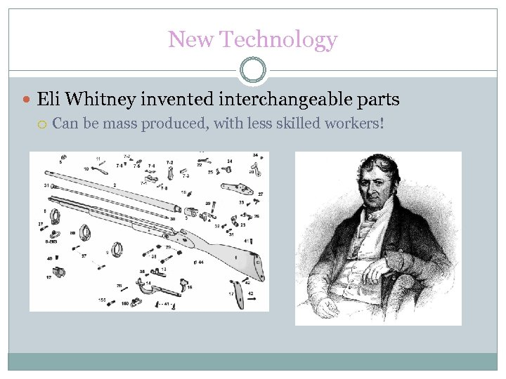 New Technology Eli Whitney invented interchangeable parts Can be mass produced, with less skilled