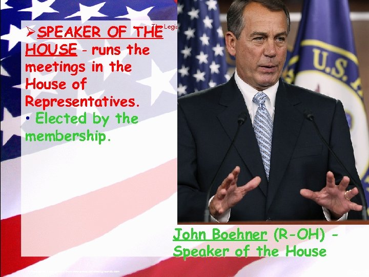 © 2004 By Default! ØSPEAKER OF THE HOUSE - runs the meetings in the