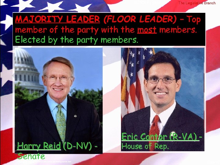 © 2004 By Default! The Legislative Branch MAJORITY LEADER (FLOOR LEADER) – Top member