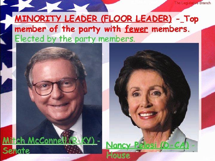 © 2004 By Default! The Legislative Branch MINORITY LEADER (FLOOR LEADER) - Top member