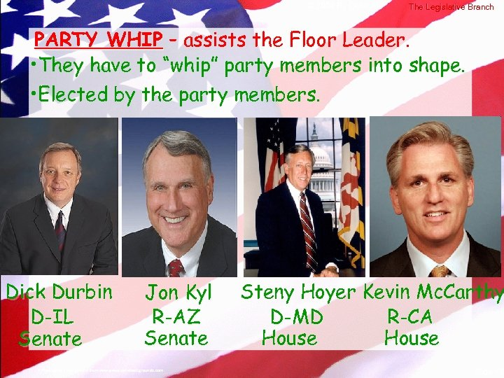 © 2004 By Default! The Legislative Branch PARTY WHIP – assists the Floor Leader.