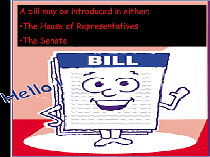 © 2004 By Default! A bill may be introduced in either; • The House