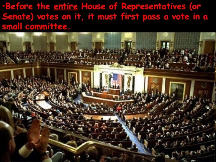 • Before the entire House of Representatives (or Senate) votes on it, it