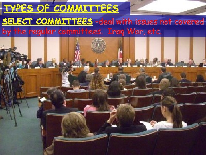 TYPES OF COMMITTEES © 2004 By Default! The Legislative Branch SELECT COMMITTEES –deal with