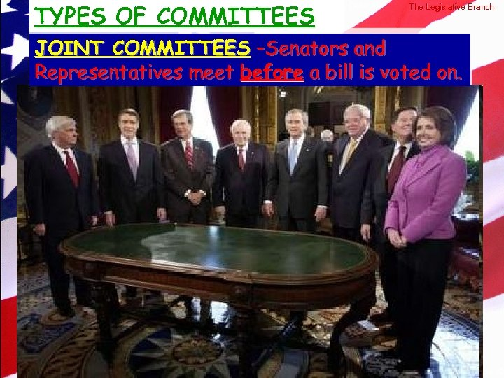 TYPES OF COMMITTEES © 2004 By Default! The Legislative Branch JOINT COMMITTEES –Senators and