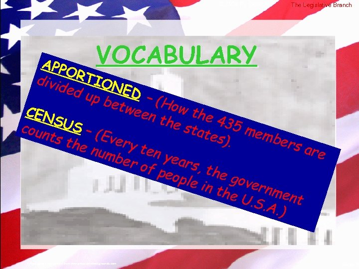 © 2004 By Default! The Legislative Branch VOCABULARY APP ORT divi ded IONED up