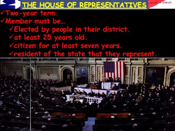 THE HOUSE OF REPRESENTATIVES üTwo-year term. üMember must be… üElected by people in their