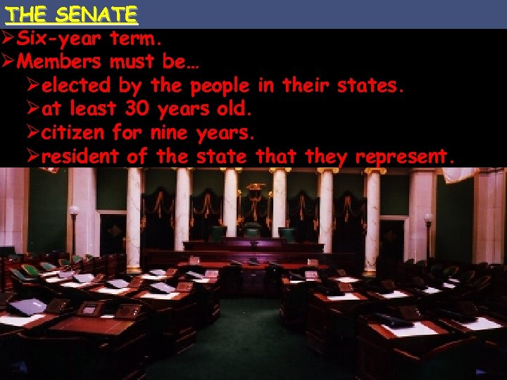 THE SENATE ØSix-year term. ØMembers must be… Øelected by the people in their states.