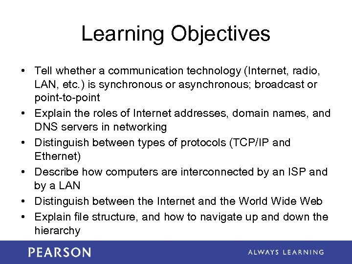 Learning Objectives • Tell whether a communication technology (Internet, radio, LAN, etc. ) is