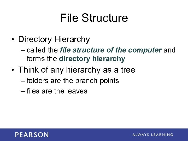 File Structure • Directory Hierarchy – called the file structure of the computer and