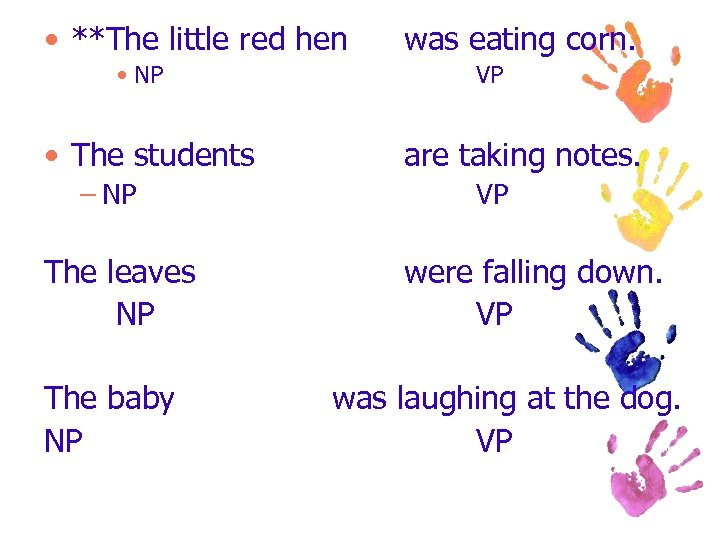 • **The little red hen • NP • The students – NP The