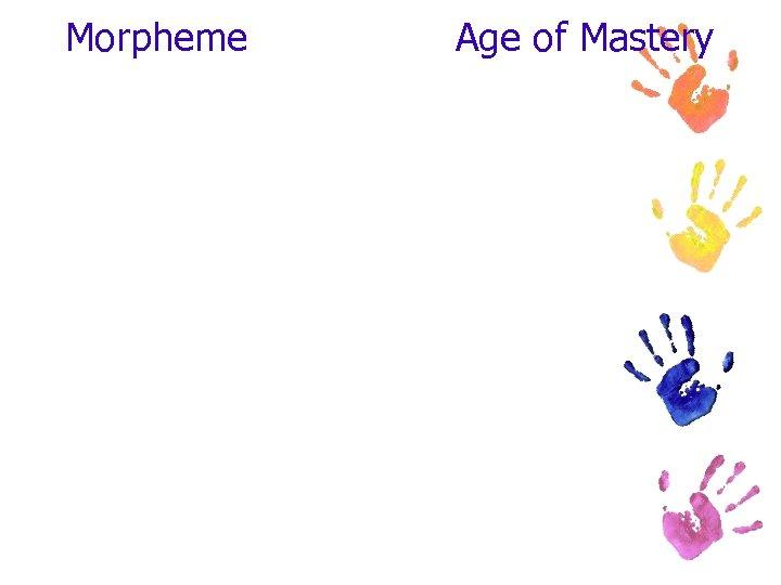 Morpheme Age of Mastery