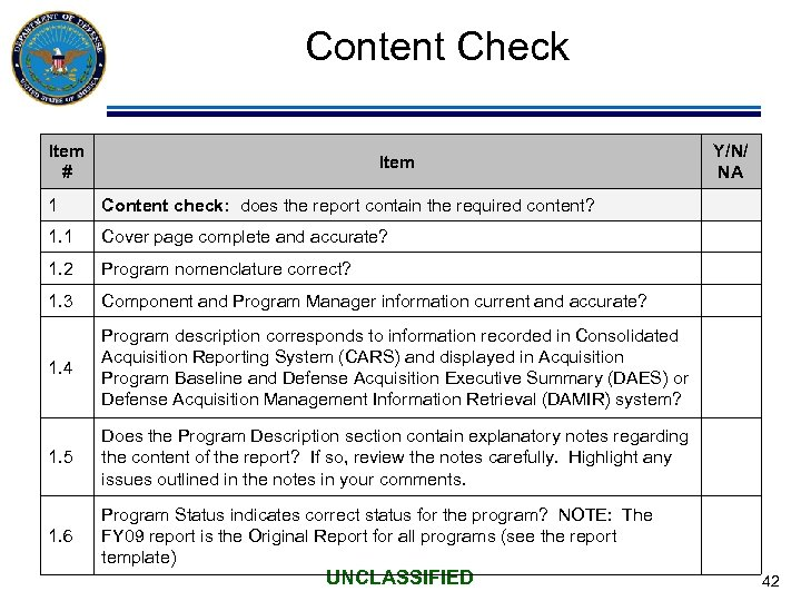 Content Check Item # Item 1 Content check: does the report contain the required