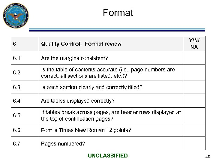 Format 6 Quality Control: Format review 6. 1 Are the margins consistent? 6. 2