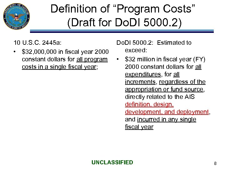 """Definition of """"Program Costs"""" (Draft for Do. DI 5000. 2) 10 U. S. C."""