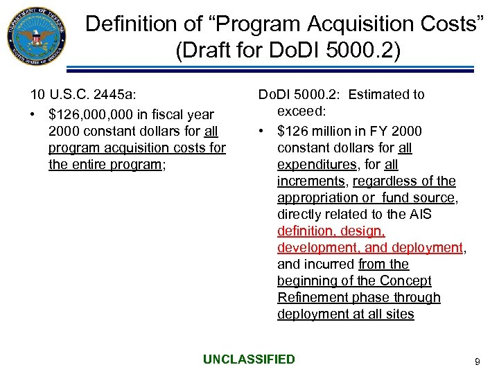 """Definition of """"Program Acquisition Costs"""" (Draft for Do. DI 5000. 2) 10 U. S."""