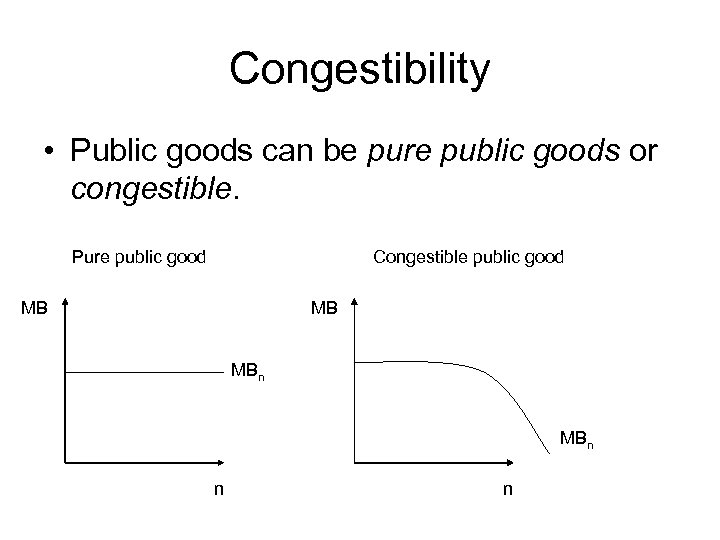 Congestibility • Public goods can be pure public goods or congestible. Pure public good