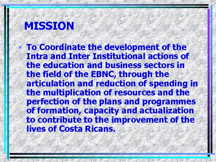 MISSION • To Coordinate the development of the Intra and Inter Institutional actions of